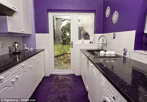 Every single room in the UK house is decorated in a violent purple.