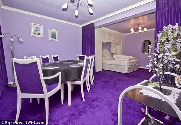 Literally every room, piece of furniture and decoration fit in the purple theme.
